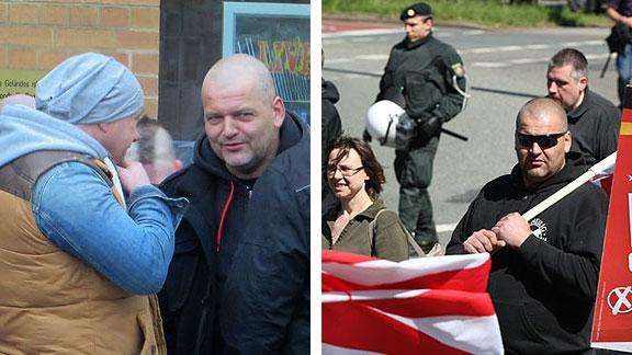 Balz im Plausch mit Bremer GSD-Nazi, der schon am 30.04.2011 am NPD-Aufmarsch in der Bremer Neustadt teilnahm (Foto rechts)