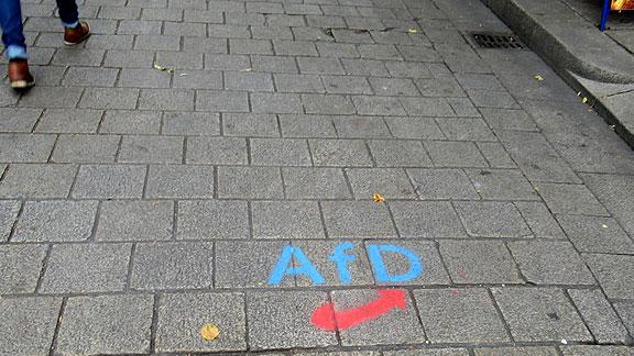 AfD-Sprüherei an der Schlachte
