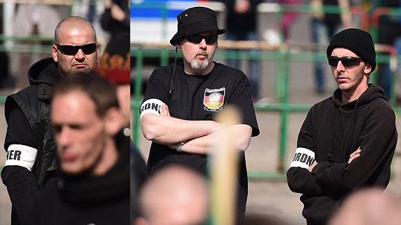 Bremer GSD-Nazis als Ordner beim Aufmarsch in Erfurt (Mai 2015): Heiko Bartels, Michael Hampe, Lars Damberger (v.l.n.r.)