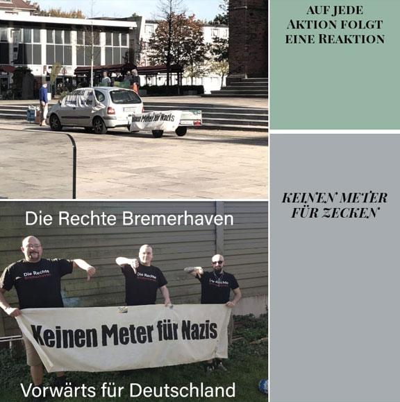 Nazis mit geklautem Transparent: Alexander von Malek, unbekannt, Danny Weichert (Screenshot: von Maleks Facebookprofil)