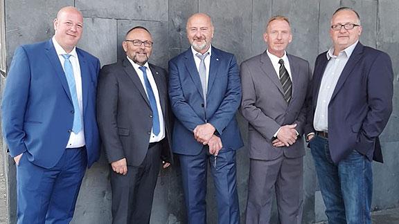 """Neue AfD-Fraktion in der Bürgerschaft, von links nach rechts: Mark Runge, Frank """"Kantholz"""" Magnitz, Thomas Jürgewitz, Uwe Felgenträger, Peter Beck"""