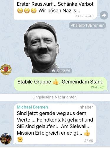 """Screenshot aus der """"Phalanx"""" Telegram-Gruppe: Administrator Michael Osterloh hocherfreut nach Angriff auf vermeintliche Linke"""