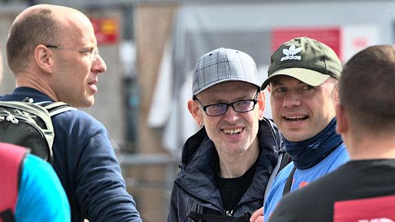 Von links nach rechts: der Ex-Bremer Daniel Fürstenberg, Sven Wellhausen (Rotenburg), Dennis Dollberg (Bremen)